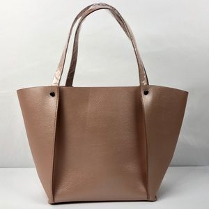 NEIMAN MARCUS Rose Gold Faux Leather Tote